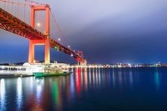 Wakato Bridge in Kitakyushu, Fukuoka, Japan - night landscape and long exposure shot. royalty free stock images