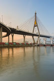 Suspension Bridge cross over Bangkok main river during sunset, Thailand Royalty Free Stock Image