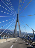 Suspension bridge crossing Corinth Gulf. Suspension bridge Rio - Antirio crossing Corinth Gulf, Patra, Greece stock image