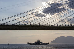 Suspension bridge crossing Corinth Gulf strait, Greece. Is the w Royalty Free Stock Photography