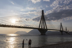 Suspension bridge crossing Corinth Gulf strait, Greece. Is the w Stock Image