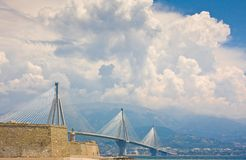 Suspension bridge crossing Corinth Gulf strait, Greece. Is world's second longest cable-stayed bridge Royalty Free Stock Photography