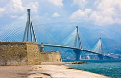 Suspension bridge crossing Corinth Gulf strait, Greece. Is world's second longest cable-stayed bridge Stock Images