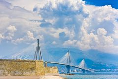Suspension bridge crossing Corinth Gulf strait, Greece. Is world's second longest cable-stayed bridge Royalty Free Stock Photos