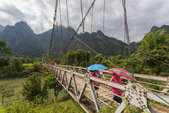 The suspension bridge crossing the Nam Song river Stock Photography