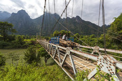 The suspension bridge crossing the Nam Song river Stock Images