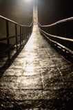 Suspension bridge in the dark cave Stock Image
