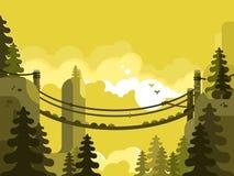 Suspension bridge design flat. Nature park, adventure and travel, vector illustration Royalty Free Stock Photos