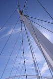 Suspension bridge. Detail of an asymmetrical cable-stayed bridge Royalty Free Stock Images
