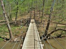 Suspension Bridge in Eno River State Park. The Eno River's waters roll past mature forests, historic mill and home sites and river bluffs near Durham and Stock Image