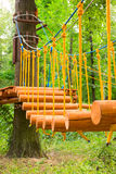 Suspension bridge in the forest Royalty Free Stock Photography
