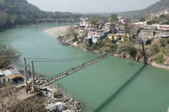Suspension bridge on ganges, rishikesh Royalty Free Stock Photography