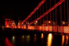 Suspension bridge, Glasgow, Scotland, UK. South Portland Street Suspension bridge at night, River Clyde, Glasgow, Scotland Stock Image