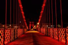 Suspension bridge, Glasgow, Scotland, UK. South Portland Street Suspension bridge at night, River Clyde, Glasgow, Scotland Stock Photos