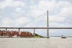 Suspension bridge in gloomy weather Stock Photography