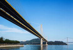 Suspension bridge in Hong Kong Royalty Free Stock Photos