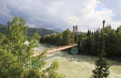 Suspension bridge between the islands on a mountain river Katun. Royalty Free Stock Photography