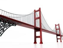Suspension bridge isolated on white background. 3D illustration.  Royalty Free Stock Images