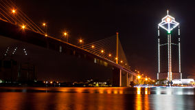 Suspension bridge. The king rama 9 suspension bridge in bangkok thailand royalty free stock image