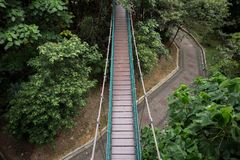 Suspension bridge in the Kuala Lumpur Eco Park stock photo
