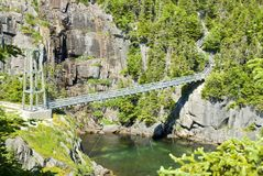 Suspension Bridge at La Manche Provincial Park Stock Image