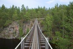 The suspension bridge, Lapinsalmi. National Park Repovesi Stock Image
