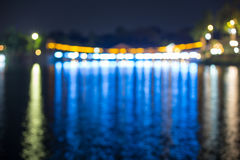 Suspension Bridge and the lights at night ,Blurred images. In Thailand Stock Image