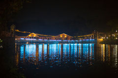 Suspension Bridge and the lights at night. In Thailand Royalty Free Stock Images