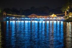 Suspension Bridge and the lights at night. In Thailand Royalty Free Stock Image