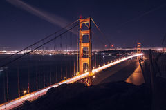 Suspension Bridge With Lights during Night Time Royalty Free Stock Photography