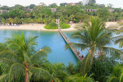 Suspension bridge linking Palawan Beach to the Southernmost Point of Continental Asia, Sentosa Island Stock Photography