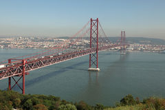 Suspension bridge in Lisbon Royalty Free Stock Photos