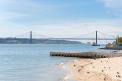 Suspension Bridge in Lisbon Royalty Free Stock Photo