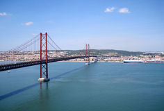 Suspension bridge in Lisbon, Portugal Stock Photography