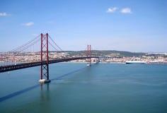 Suspension bridge in Lisbon, Portugal. Suspension bridge Ponte 25 de April over the Tagus river in Lisbon, Portugal Stock Photography