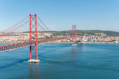 Suspension Bridge in Lisbon Royalty Free Stock Photography