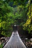 Suspension bridge. Made of natural wood Royalty Free Stock Images