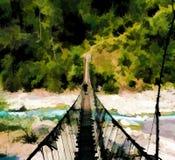 Suspension bridge and mountain river. Dangerous trekking path digital illustration Royalty Free Stock Image