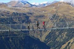 Suspension bridge in the mountains, Austria. Royalty Free Stock Photography