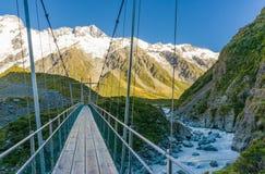 Suspension bridge in Mt. Cook National Park. New Zealand stock photography