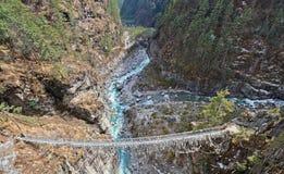 Suspension bridge in Nepal Stock Photo