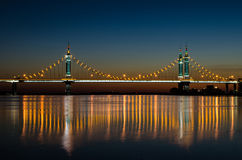 Suspension Bridge at Night Royalty Free Stock Photography