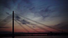 Suspension bridge at night. Riga, Latvia stock video footage