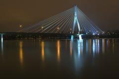Suspension bridge at night Royalty Free Stock Photography