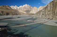 Suspension bridge in Northern Pakistan Royalty Free Stock Image
