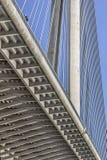Suspension Bridge Over Ada Girder And Pylon Detail - Belgrade - Serbia. Suspension Bridge Over Ada, Belgrade, Republic of Serbia, pylon and modular steel Stock Photos