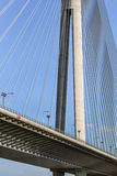 Suspension Bridge Over Ada Pylon - Detail - Belgrade - Serbia. Bridge Over Ada, connecting right Sava river bank and old part of town with the left river bank Royalty Free Stock Photography