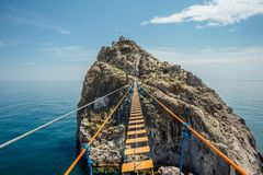 Suspension bridge over Black sea in Simeiz, Crimea.  royalty free stock images