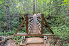 Suspension Bridge Over Falls Creek Front View Stock Photo