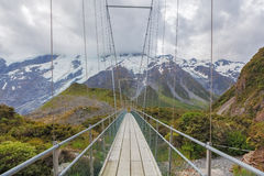Suspension Bridge over Hooker River, Mount Cook National Park, N Stock Photo